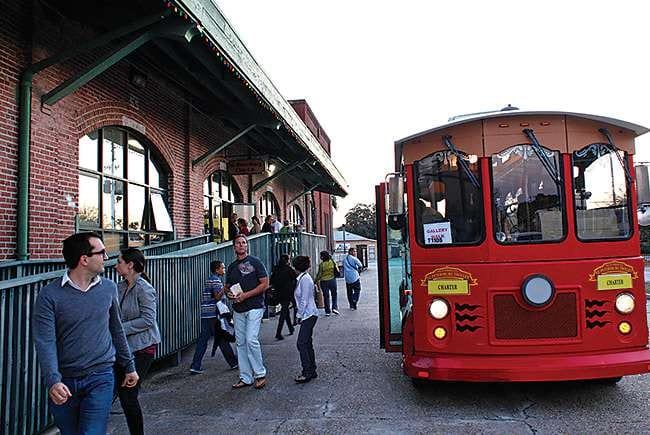 take a ride on the trolley to the warehouse art district