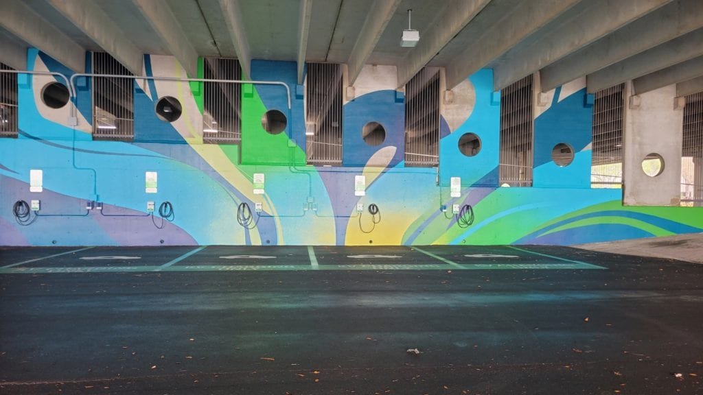 Mural at the charging station by Duke Energy at the Mahaffey theater in St.Petersburg