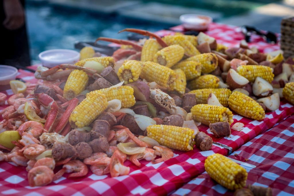 Enjoy a seafood boil at the outer banks boil company at their Grand Opening