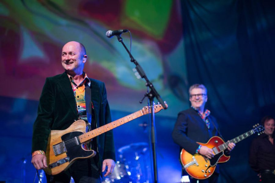 """The Hoodoo Gurus formed in Sydney on January 1, 1981 to play their first """"show"""" in an inner city lounge room. Founding members Dave Faulkner and Brad Shepherd have been joined along the way by Rick Grossman ('89) and Nik Rieth ('19)."""